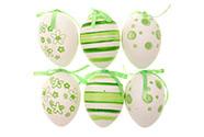 Vajíčka plastová 6cm, cena za 1 sáček (6 ks), zeleno-bílé