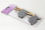Králíček,2 kusy v sáčku, dekorace ze dřeva a plyše na zavěšení,  cena za 1 sáček