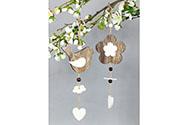 Ptáček nebo kytička  dřevěná dekorace na zavěšení v sáčku, cena za 1 kus