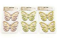 Motýl, 2 kusy v sáčku, dřevěná dekorace na pověšení , cena za 1 sáček, mix 3 bar
