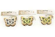 Motýl, 2 kusy v sáčku, dřevěná dekorace na pověšení , cena za 1 sáček , mix 3 ba