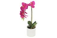 Orchidea v betonovém květnáči, barva tmavě růžová. Květina umělá.