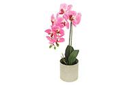 Orchidea v betonovém květnáči, barva světlě růžová.  Květina umělá.