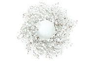 Věnec z bobulí, umělá dekorace, bílý