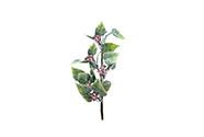 Zelená větvička s bobulemi, ojíněná vánoční přízdoba ,umělá dekorace