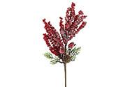 Větvička s červenými jeřabinami a šiškou, ojíněná  vánoční umělá dekorace