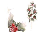 Cesmína, větvička ojíněná vánoční umělá dekorace. Cena za 1ks.