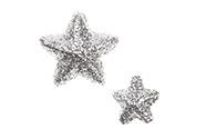 Hvězdičky z polystyrenu ve stříbrné barvě, mix 2 velikostí. Cena za 1balení (24k