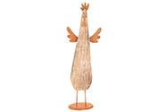 Kuře, dřevěná dekorace s kovem