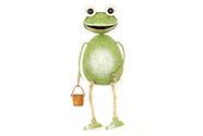 Žába sedící, kovová dekorace, nohy z provázků