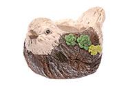 Ptáček,dekorace z MgO keramiky s otvorem na květináč