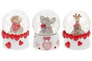 Sněžítko se zvířátkem a srdíčky, polyresinová dekorace, mix  pes, slon a žifara,