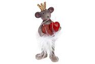 Myška s korunkou a bílou sukní z peří, polyresinová dekorace.