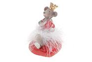 Myška na srdíčku s korunkou a bílou sukní z peří,  polyresinová dekorace.