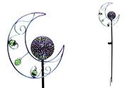 Měsíc s LED světlem, kovová zahradní dekorace, zápich (baterie na solární dobíje