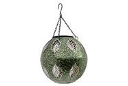 Koule s LED světlem, dekor s lístky, kovová zahradní dekorace na zavěšení