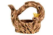 Kořen, MgO keramika s otvorem na květináč s ptáčkem s LED světlem  (baterie na s