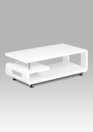 Konferenční stolek 115x60x43, bílá MDF vysoký lesk, chrom, 4 kolečka