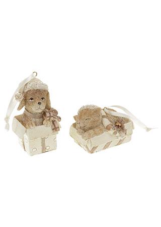 Dekorace vánoční na zavěšení z polyresinu, mix 2 druhů, cena za 1 kus