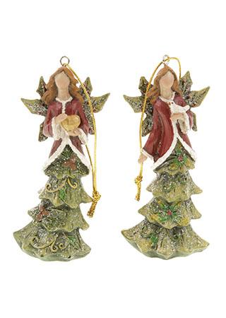 Anděl se stromečkovou sukní, vánoční dekorace na zavěšení z polyresinu, mix 2 druhů, cena za 1 kus
