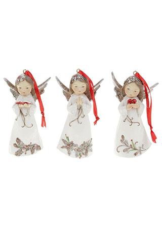 Anděl, dekorace na zavěšení z polyresinu, barva bílá s vánočním d