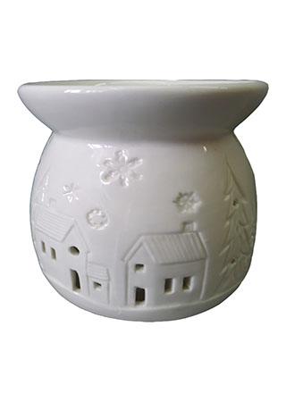 Aroma lampa, vánoční motiv vesnice, bílá barva, porcelán.