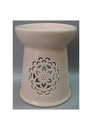 Aroma lampa s motivem mandaly, světle hnědá barva, porcelán.