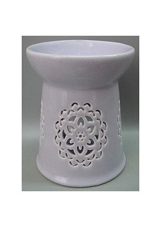 Aroma lampa s motivem mandaly, fialová barva, porcelán.