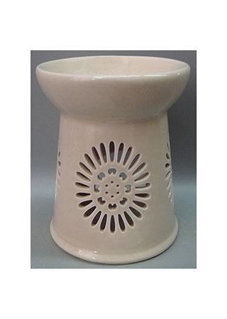 Aroma lampa s motivem sedmikrásky, světle hnědá barva, porcelán.