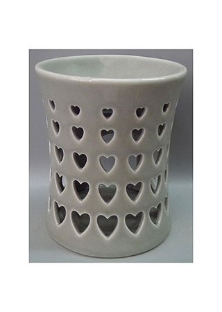 Aroma lampa s motivem srdíček, šedivá barva, porcelán.