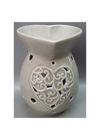 Aroma lampa, tvar srdíčka, šedivá barva, porcelán.
