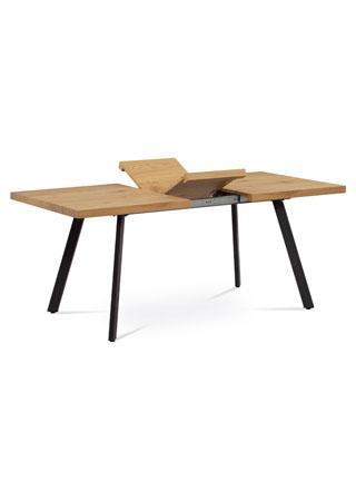 Jídelní stůl 140+40x85x76 cm, MDF deska, 3D dekor dub, kovové nohy, antracitový matný lak