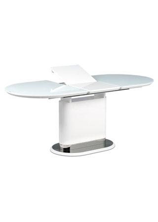 Jídelní stůl 140+40x80 cm, bílé sklo, MDF + bílý vysoký lesk, lesklý nerez