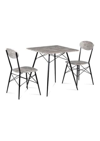 Jídelní set (1+2), MDF dekor beton, kovová podnož, černý matný lak
