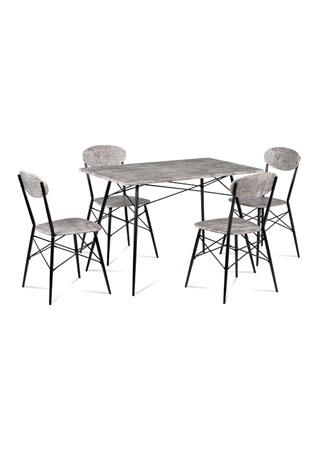 Jídelní set (1+4), MDF dekor beton, kovová podnož, černý matný lak