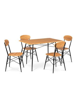 Jídelní set (1+4), MDF dekor dub, kovová podnož, černý matný lak