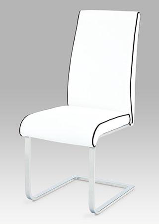 Jídelní židle koženka bílá s černou paspulí / chrom