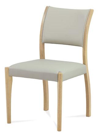 Jídelní židle, masiv kaučukovník, moření bělený dub, lanýžová ekokůže