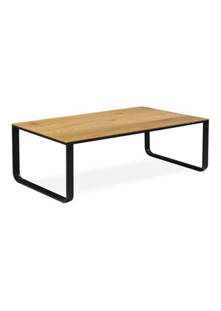 Konferenční stolek 105x55x33, MDF divoký dub, kov černý mat