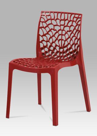 Jídelní židle, červená plast
