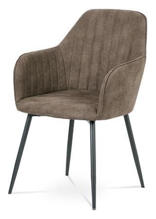Jídelní židle, hnědá látka, kov šedá mat