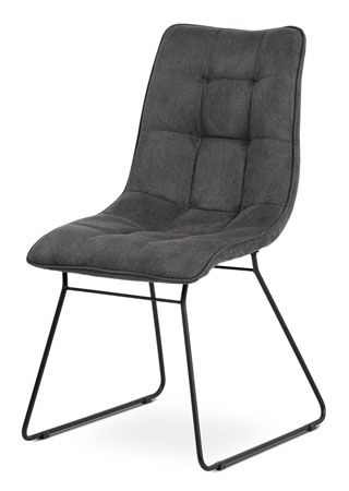 Jídelní židle, potah šedá látka v dekoru vintage kůže, kovová podnož, matný černý lak