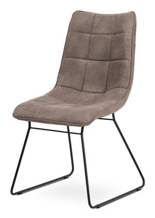 Jídelní židle, potah lanýžová látka v dekoru vintage kůže, kovová podnož, matný černý lak