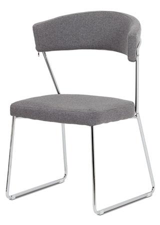 Jídelní židle, šedá látka, chrom