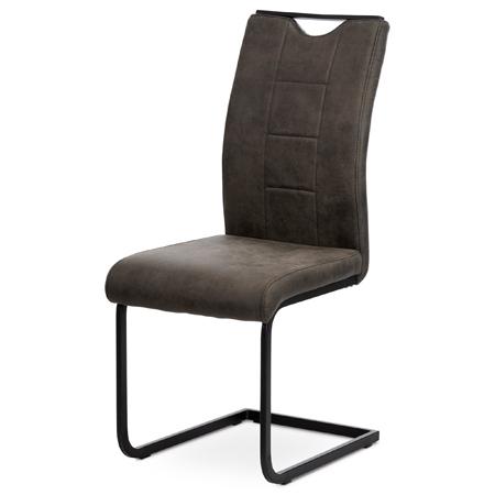 Jídelní židle, šedá látka v dekoru vintage kůže, bílé prošití, kov - černý lak