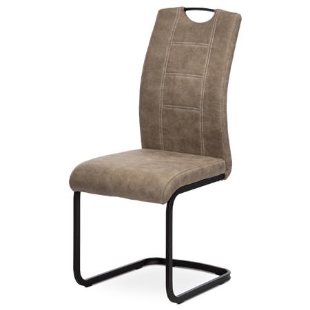 Jídelní židle, lanýžová látka v dekoru vintage kůže, bílé prošití, kov-černý lak