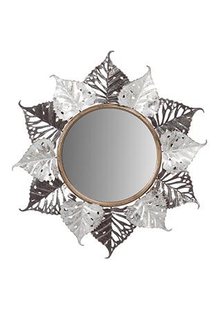 Zrcadlo, nástěnná kovová dekorace, motiv lipových listů