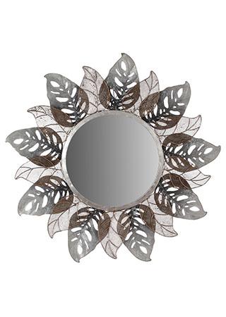 Zrcadlo, nástěnná kovová dekorace, motiv listů