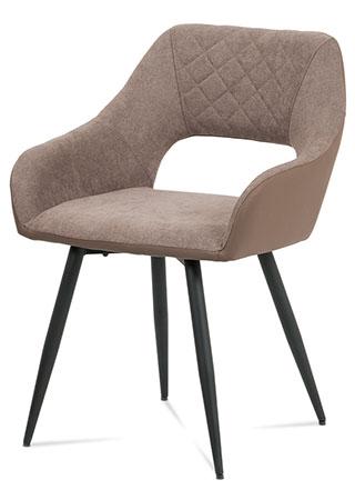 Jídelní židle - kombinace lanýžové látky a ekokůže, kovová čtyřnohá podnož, černý matný lak
