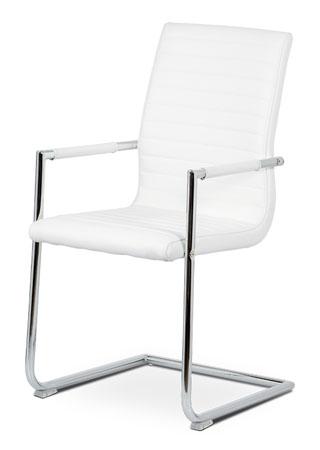 Konferenční židle, bílá ekokůže, kov chrom